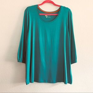 Gudrun Sjoden 3/4 Sleeve Jersey Top Solid Color
